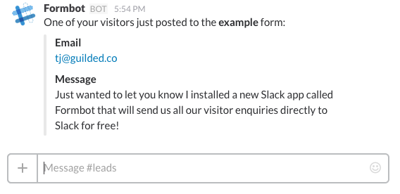 Formbot sends visitor HTML form data to Slack